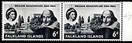 Falkland Islands 1964 400th Birth Anniversary of Shakespeare 6d horiz pair, one stamp with