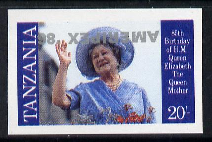 Tanzania 1986 Queen Mother 20s (as SG 426) imperf proof single with AMERIPEX '86 opt in silver inverted unmounted mint