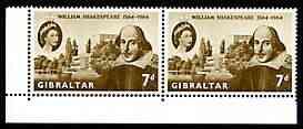 Gibraltar 1964 400th Birth Anniversary of Shakespeare 7d horiz pair, one stamp with 'flaw above date' (R10/1) unmounted mint SG 177var