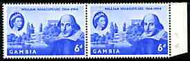 Gambia 1964 400th Birth Anniversary of Shakespeare 6d horiz pair, one stamp with