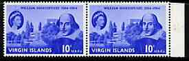 British Virgin Islands 1964 400th Birth Anniversary of Shakespeare 10c horiz pair, one stamp with scratch by eye (R7/5) unmounted mint, SG 177var, stamps on personalities, stamps on shakespeare, stamps on literature