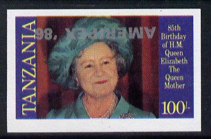 Tanzania 1986 Queen Mother 100s (as SG 428) imperf proof single with AMERIPEX '86 opt in silver inverted unmounted mint, stamps on , stamps on  stamps on postal, stamps on  stamps on royalty, stamps on  stamps on queen mother, stamps on  stamps on stamp exhibitions