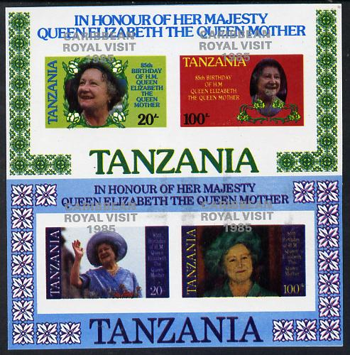 Tanzania 1985 Life & Times of HM Queen Mother set of 2 imperf proof m/sheets each with the unissued