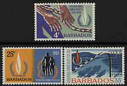 Barbados 1968 Human Rights perf set of 3 unmounted mint, SG 378-80