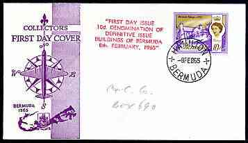 Bermuda 1965 Cottage 10d (from Buildings def set) on illustrated cover with first day cancel