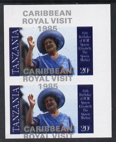 Tanzania 1985 Life & Times of HM Queen Mother 20s (as SG 426) imperf proof pair with the unissued 'Caribbean Royal Visit 1985' opt in silver misplaced by 15mm unmounted mint