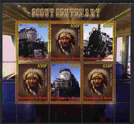 Benin 2007 Scout Centenary - Locomotives & N American Indian perf sheetlet containing 6 values unmounted mint. Note this item is privately produced and is offered purely ...