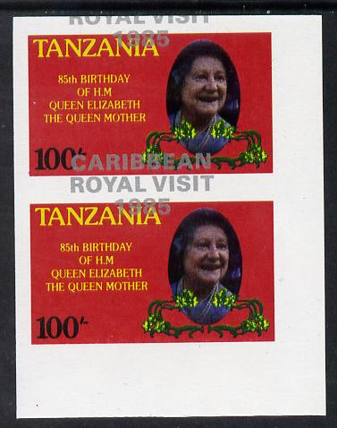 Tanzania 1985 Life & Times of HM Queen Mother 100s (as SG 427) imperf proof pair with the unissued 'Caribbean Royal Visit 1985' opt in silver misplaced by 15mm unmounted mint