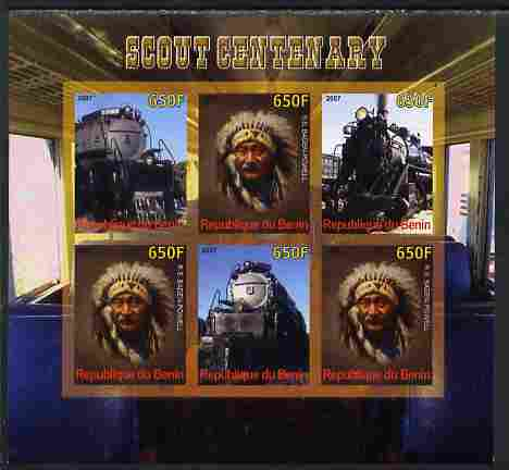 Benin 2007 Scout Centenary - Locomotives & N American Indian imperf sheetlet containing 6 values unmounted mint. Note this item is privately produced and is offered purel...