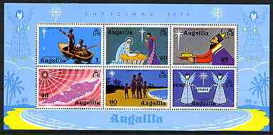 Anguilla 1974 Christmas perf m/sheet containing set of 6 unmounted mint, SG MS201, stamps on christmas, stamps on bethlehem, stamps on angels
