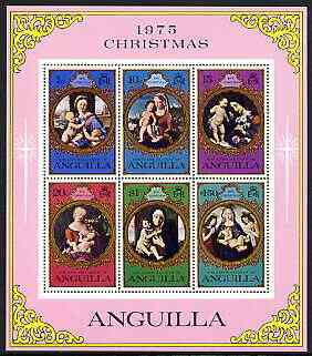Anguilla 1975 Christmas perf m/sheet containing set of 6 unmounted mint, SG MS222, stamps on christmas, stamps on arts, stamps on durer, stamps on botticelliraphael