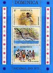 Dominica 1973 National Day perf m/sheet containing 3 values unmounted mint, SG MS410
