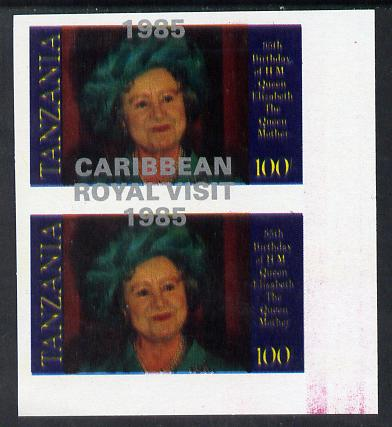 Tanzania 1985 Life & Times of HM Queen Mother 100s (as SG 428) imperf proof pair with the unissued 'Caribbean Royal Visit 1985' opt in silver misplaced by 15mm unmounted mint