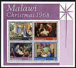 Malawi 1968 Christmas (Paintings) perf m/sheet containing set of 4 unmounted mint, SG MS309