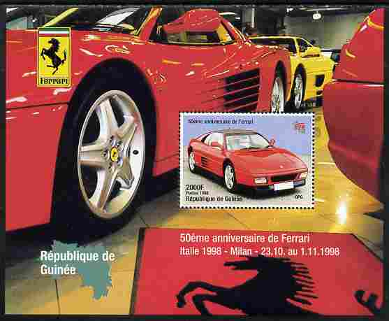 Guinea - Conakry 1998 Ferrari perf s/sheet with Italia 98  imprint unmounted mint. Note this item is privately produced and is offered purely on its thematic appeal
