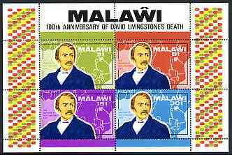 Malawi 1973 Death Centenary of David Livingstone (1st issue) perf m/sheet containing set of 4 unmounted mint, SG MS439