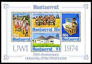Montserrat 1974 University of the West Indies perf m/sheet unmounted mint, SG 324-27