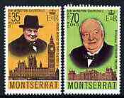 Montserrat 1974 Birth Centenary of Sir Winston Churchill perf set of 2 unmounted mint, SG 340-41