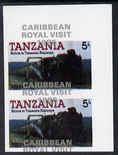 Tanzania 1985 Railways 5s (as SG 430) imperf proof pair with the unissued 'Caribbean Royal Visit 1985' opt in silver misplaced by 15mm unmounted mint