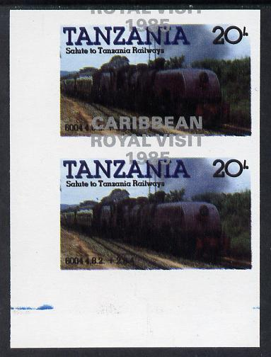 Tanzania 1985 Locomotives 20s (as SG 432) imperf proof pair with the unissued 'Caribbean Royal Visit 1985' opt in silver misplaced by 15mm unmounted mint