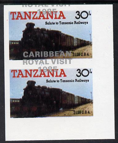 Tanzania 1985 Locomotives 30s (as SG 433) imperf proof pair with the unissued 'Caribbean Royal Visit 1985' opt in silver misplaced by 15mm unmounted mint