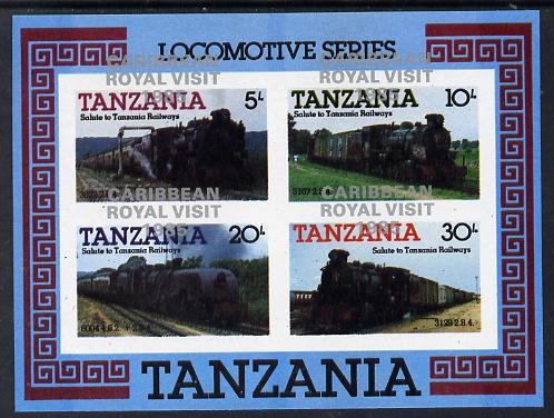 Tanzania 1985 Locomotives m/sheet (as SG MS 434) imperf proof with the unissued