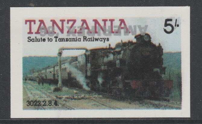 Tanzania 1986 Railways 5s (as SG 430) imperf proof with the unissued 'AMERIPEX '86' opt in silver inverted (some ink smudging) unmounted mint