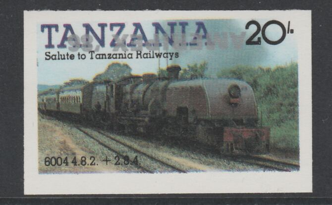 Tanzania 1986 Railways 20s (as SG 432) imperf proof with the unissued 'AMERIPEX '86' opt in silver inverted (some ink smudging) unmounted mint