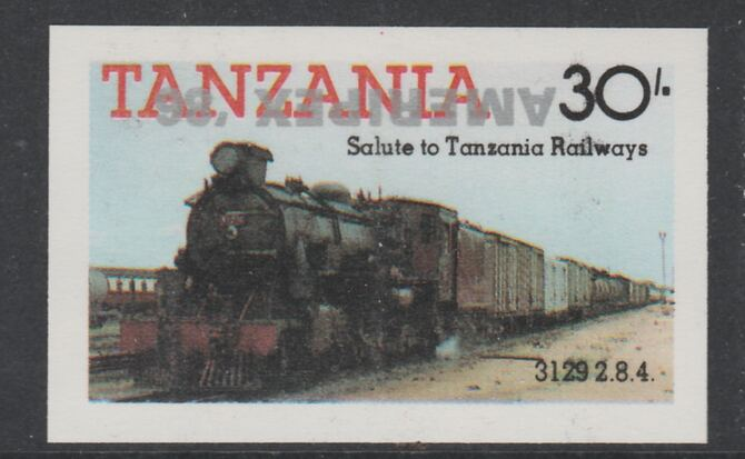 Tanzania 1986 Railways 30s (as SG 433) imperf proof with the unissued 'AMERIPEX '86' opt in silver inverted (some ink smudging) unmounted mint