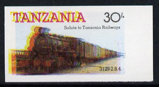 Tanzania 1985 Railways 30s (as SG 433) imperf proof single with all 4 colours misplaced (spectacular blurred effect) unmounted mint
