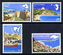 Greece 1976 Tourist Publicity perf set of 4 unmounted mint, SG 1348-51, stamps on tourism, stamps on maps