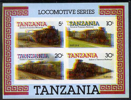 Tanzania 1985 Locomotives m/sheet (as SG MS 434) imperf proof with all 4 colours misplaced (spectacular blurred effect) unmounted mint