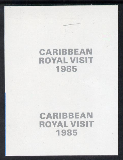 Tanzania 1985 Caribbean Royal Visit 1985 imperf proof pair of overprint in silver on gummed paper