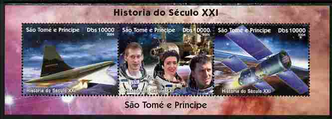 St Thomas & Prince Islands 2004 History of the 21st Century #3 perf sheetlet containing 3 values unmounted mint. Note this item is privately produced and is offered purely on its thematic appeal