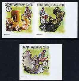 Mali 1997 Minerals imperf set of 3 values unmounted mint, Mi 2022, 2031 & 2032