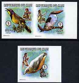 Mali 1997 Birds imperf set of 3 values unmounted mint, Mi 2023, 2029 & 2030