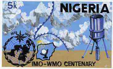 Nigeria 1973 IMO & WMO Centenary - original hand-painted artwork for 5k value (beautifully crude) by unknown artist on card 10 x 6