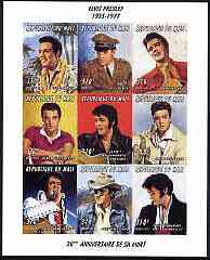 Mali 1997 Elvis Presley 20th Death Anniversary (Films) imperf sheetlet containing set of 9 unmounted mint, Mi 1789-97