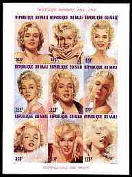 Mali 1996 Marilyn Monroes imperf sheetlet containing set of 9 unmounted mint, Mi 1566-74