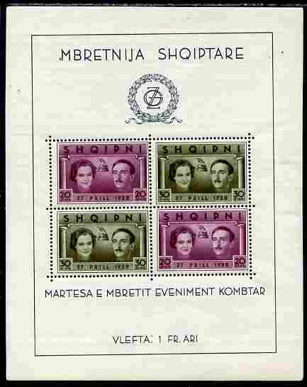 Albania 1938 Royal Wedding m/sheet unmounted mint but small rust spot and very slight soiling SG MS 328a