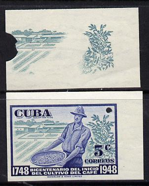 Cuba 1948 Coffee Bicentenary imperf proofs by Waterlow comprising proof of background in green plus composite proof in blue & green, both proofs on gummed paper with security punch holes (inter-paneau gutter pairs available price x 2)