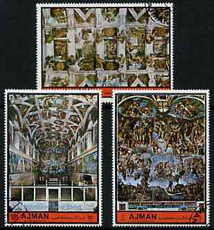 Ajman 1972 The Sistine Chapel by Michelangelo perf set of 3 cto used, Mi 1874-76