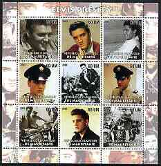 Mauritania 2003 Elvis Presley perf sheetlet containing set of 9 values unmounted mint (3 stamps with Elvis on Motorcycles)