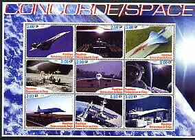 Congo 2002 Concorde & Space perf sheetlet #01 containing set of 9 values unmounted mint