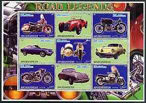 Afghanistan 2001 Road Legends perf sheetlet containing set of 9 values unmounted mint (5 Motorcycles & 4 cars)