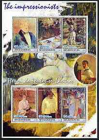 Afghanistan 2001 The Impressionists - Toulouse-Lautrec perf sheetlet containing set of 6 values unmounted mint