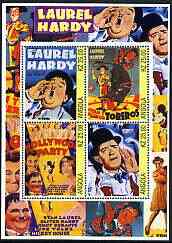 Angola 2002 Laurel & Hardy perf sheetlet containing set of 4 values unmounted mint