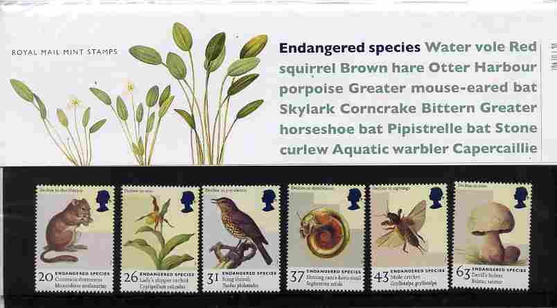Great Britain 1998 Endangered Species set of 6 in official presentation pack SG 2015-20