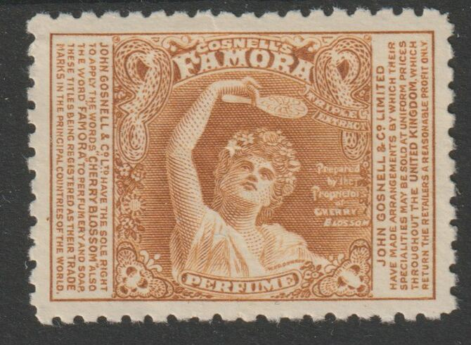 Cinderella - Great Britain 1910c perf publicity label in brown by W & D Downey showing Narcissus inscribed 'Famora' and produced by John Gosnell & Co (Cherry Blossom, perfumes & soaps) without gum and minor wrinkles