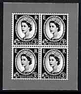 Cinderella - Great Britain 1952 Wilding 3d block of 4 illustration in black on ungummed paper by Harrison & Sons produced during mid 1950's as a sample to illustrate the quality of gravure printed stamps - documented as 'accepted as one of the best designs to suit the process'